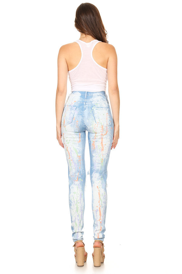 High Rise Paint Splash Destroyed Skinny Jeans