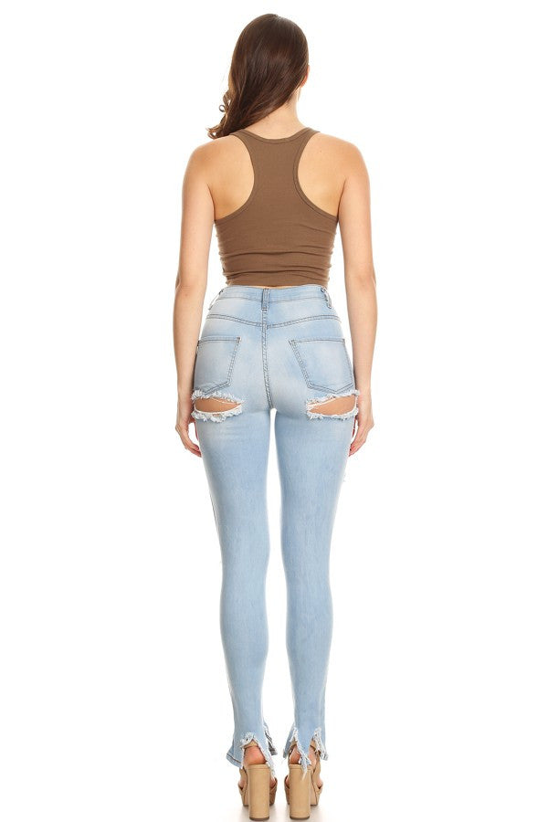 16049c504e0 Monotiques - Women Thigh & Knee Cut Out High Rise Skinny Jeans