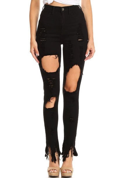 6bbeda8fcfa Monotiques - Women Thigh & Knee Cut Out High Rise Skinny Jeans