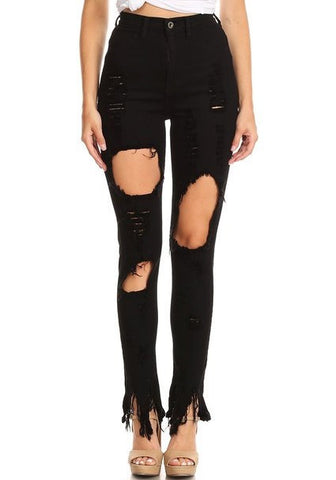 Thigh & Knee Cut Out High Rise Skinny Jeans Black