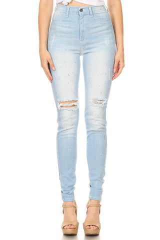 High Rise Glitter Skinny Jeans with HandSanding