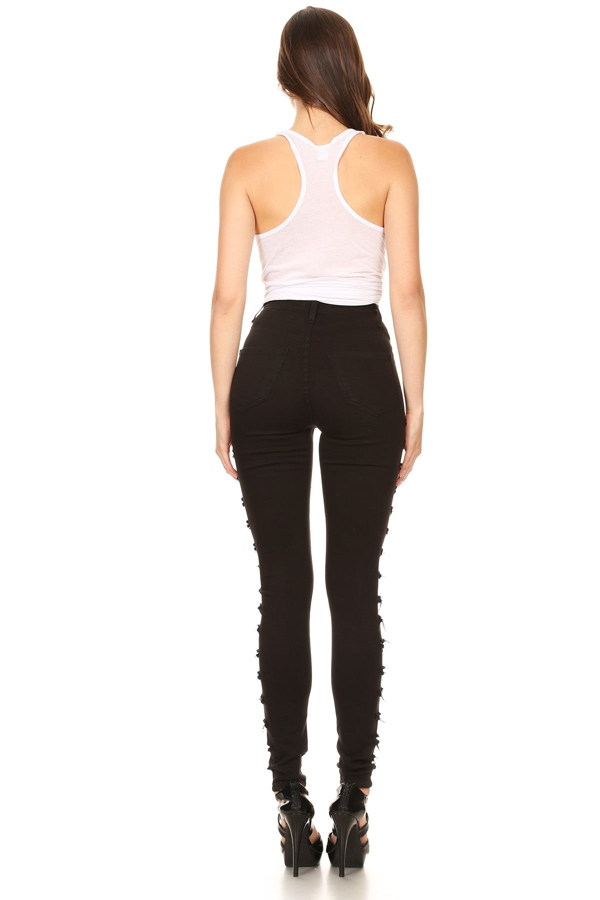 High Rise Skinny Jeans Outseam Ladder Slices