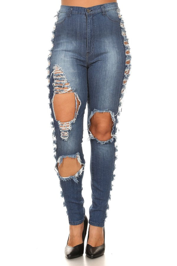 High Rise OutSeam Sliced Skinny Jeans