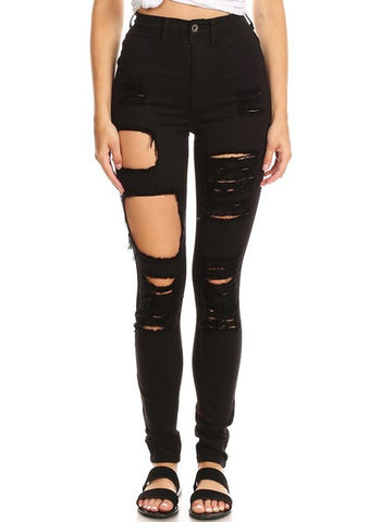 High Rise Overdye Destruction Skinny Jeans
