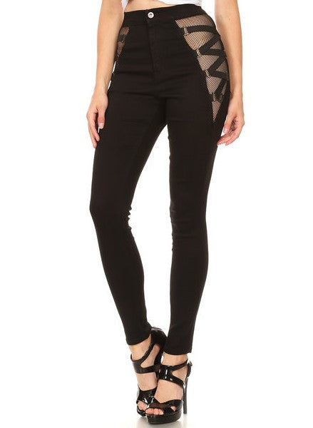High Rise Skinny Jeans Side Strap Up Black