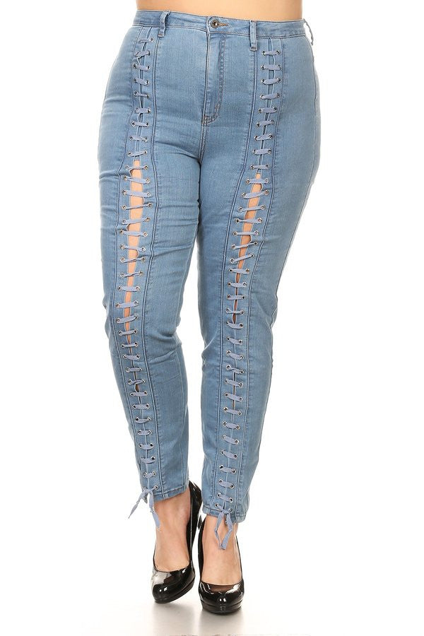 High Rise Front Lace Up Skinny Blue