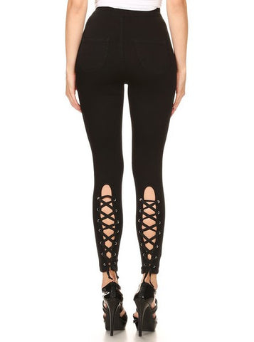 Back Leg Lace Up High Rise Black Skinny Jeans