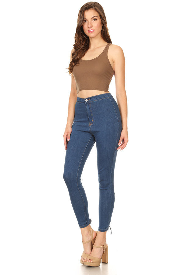 Back Leg Lace Up High Rise Skinny Jeans