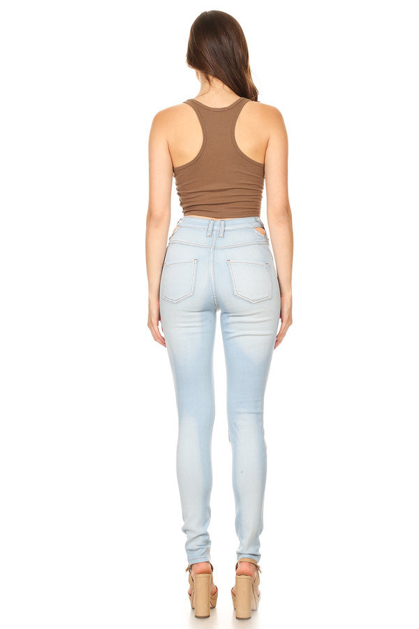 High Rise Hand Sanding Destruction Skinny Jeans