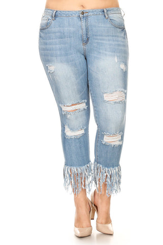 Mid Rise Frayed Leg Skinny Jeans