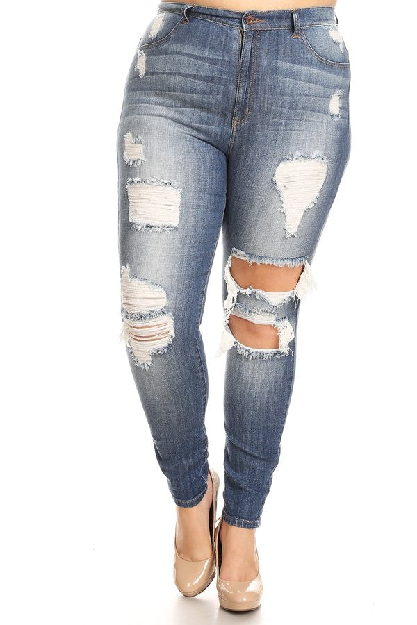 Heavy Destructed Hand Sanding High Rise Skinny Jeans