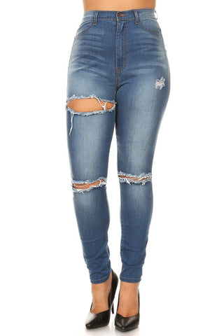 High Rise Heavy Sanding Knee & Thigh Slices Skinny Jeans