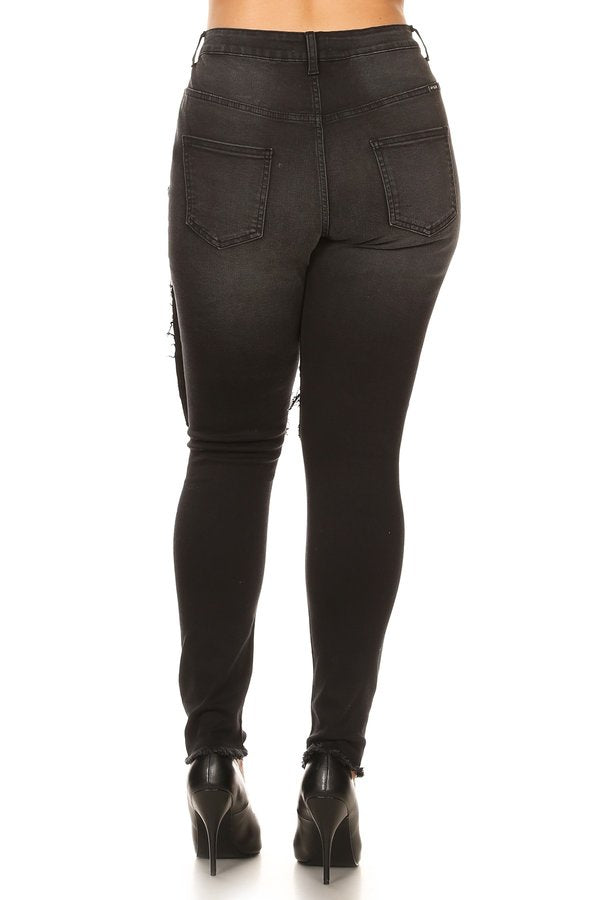 High Rise Repaired Thigh Destructed Jeans