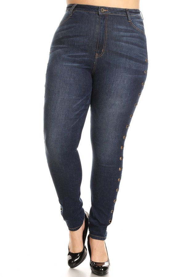 High Rise OutSeam Eyelet Skinny Jeans