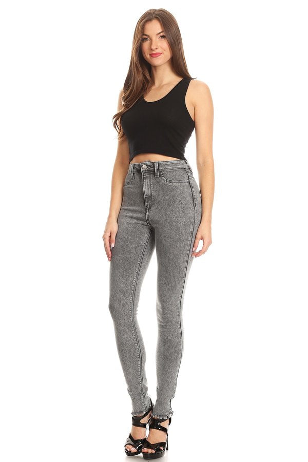 High Rise Acid Washed Skinny Jeans