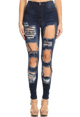 High Rise Skinny Jeans Rectangular Cut Outs
