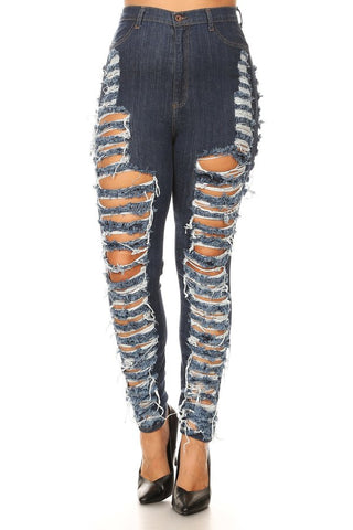 High Rise Sliced Skinny Jeans