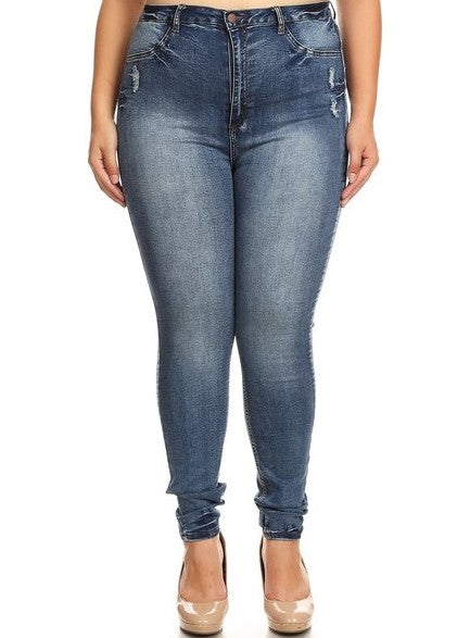 Super Comfy High Rise Hand Sanding Skinny Jeans