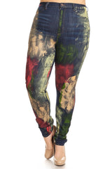 High Rise Skinny Jeans Paint Splash