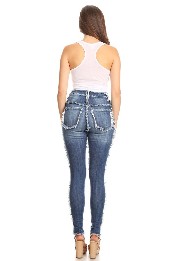 High Rise Frayed Seam Skinny Jeans