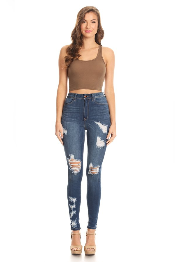 Super Comfy High Rise Hand Sand Grinding Skinny Jeans