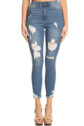 High Rise Frayed Leg Opening Skinny Jeans