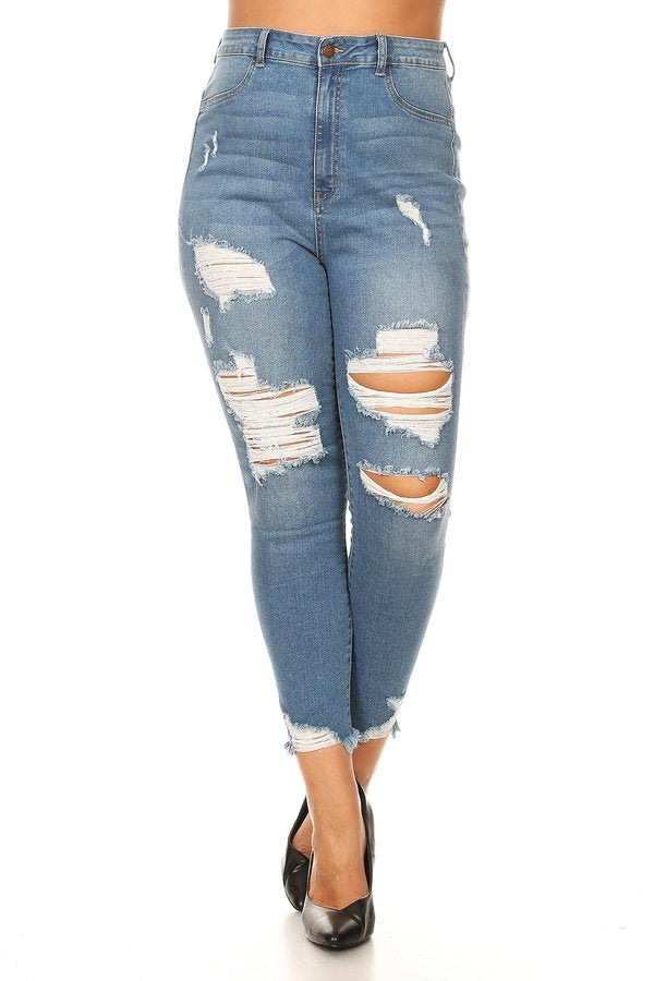 a62d1c100d Monotiques - Women High Rise Frayed Leg Opening Skinny Jeans