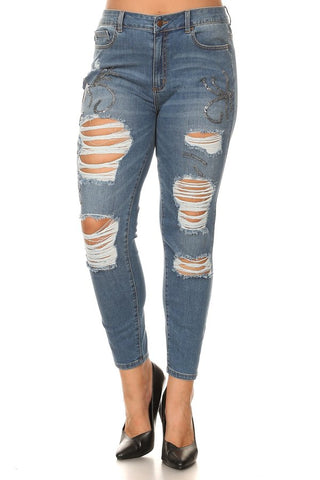 Mid Rise Skinny Jeans Silver Glitter