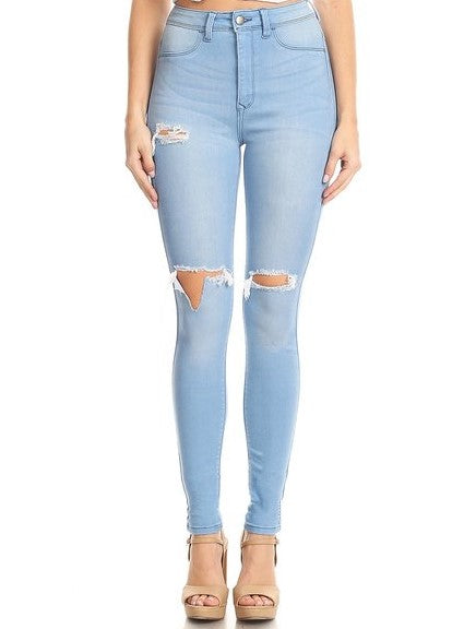 High Rise Skinny Jeans Knee Destruction