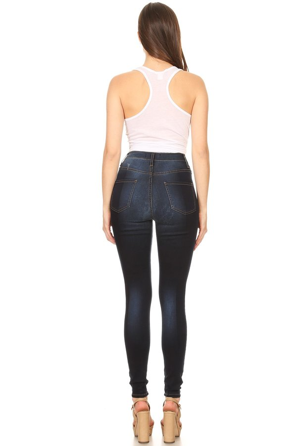 High Rise HandSanded Two Toned Skinny Jeans