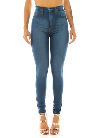 ca779190bb86 Monotiques - Women High Rise Button Fly Skinny Jeans MBlue