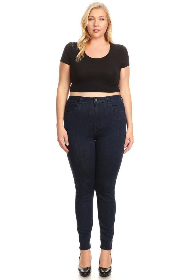 High Rise Classic Comfy Skinny Jeans with Handsanding