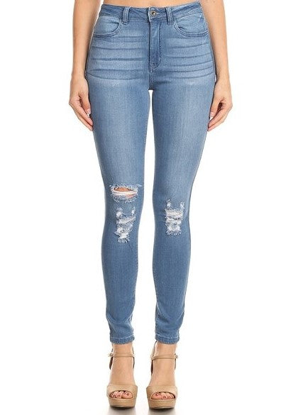 High Rise Skinny Jeans Hand Sanding Whiskers Knee Destruction