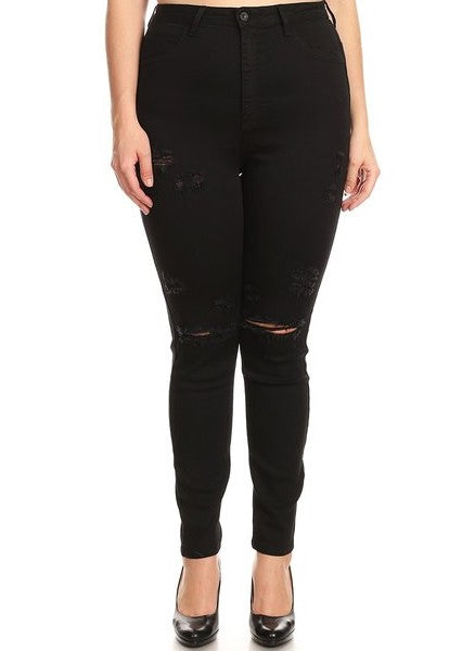 High Rise Skinny Jeans with Knee & Thigh Destruction
