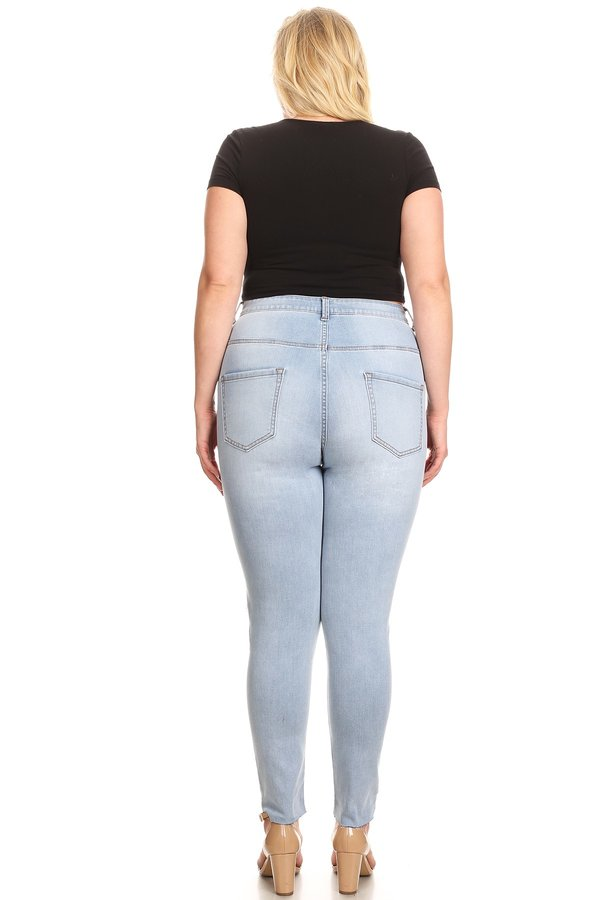 High Rise Skinny Jeans Left Knee Hole Right Knee Slice