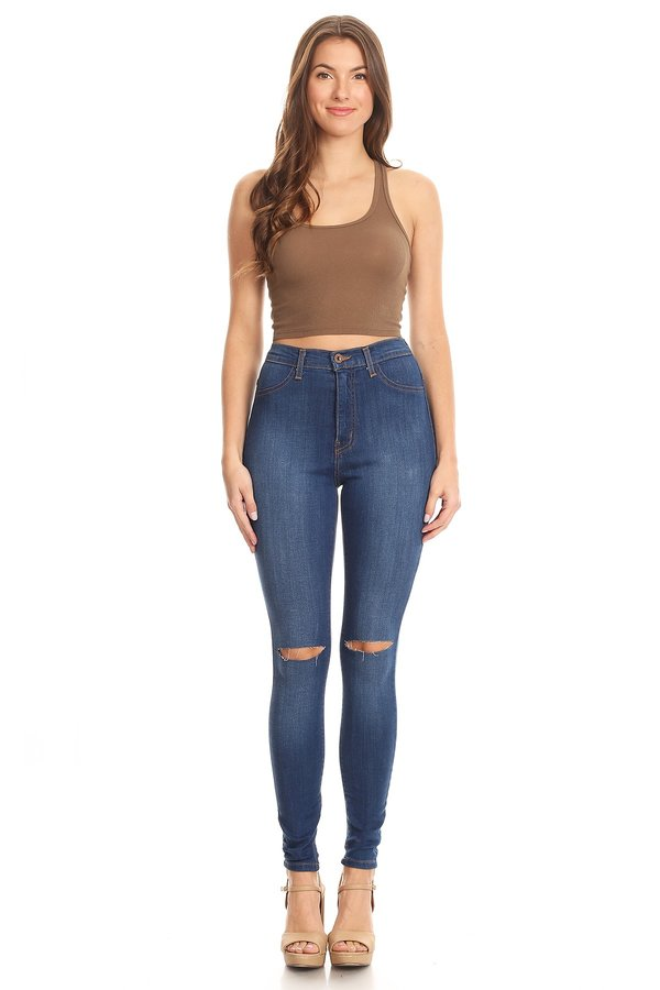High Rise Classic Comfy Skinny Jeans Knee Slice