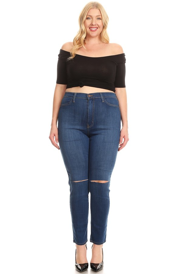 High Rise Classic Comfy Knee Sliced Skinny Jeans