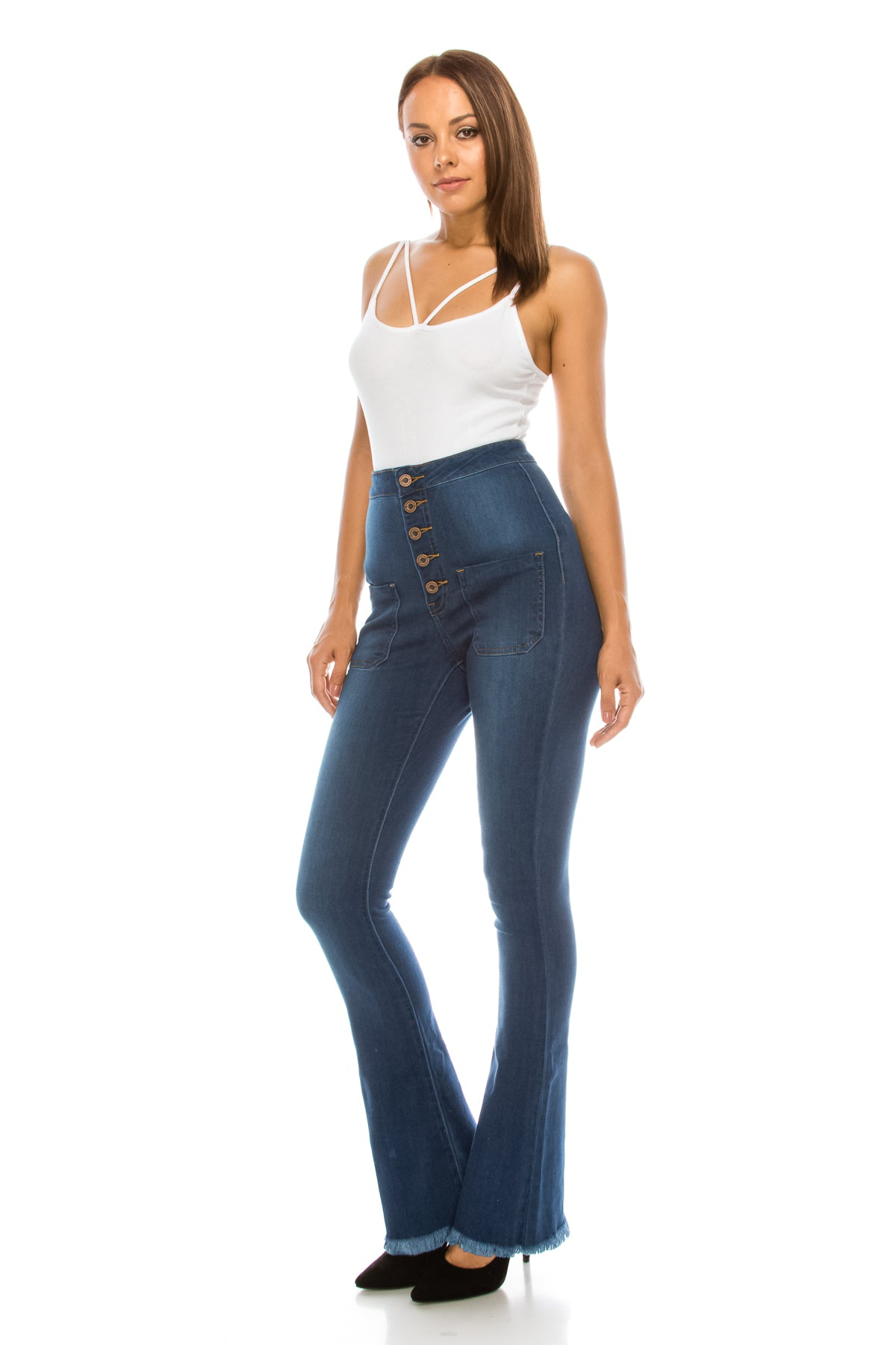 High Rise Button Fly Flare Jeans without Back Pockets