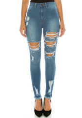 High Rise Frayed Bottom Skinny Jeans