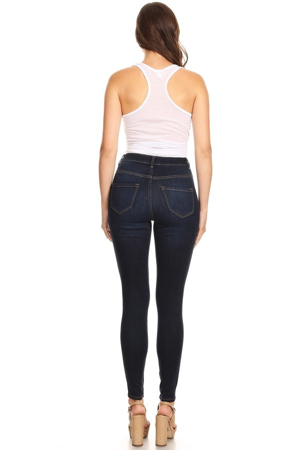 High Rise Fake Pocket Skinny Jeans