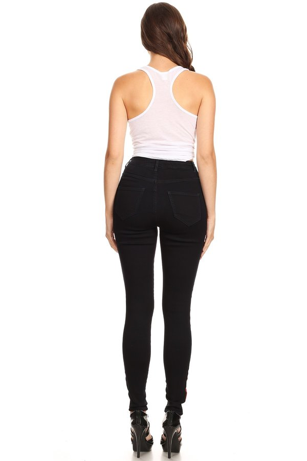 High Rise Red High Light Outseam Square Back Pocket Skinny Jeans
