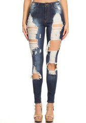 High Rise Heavy Front Leg Destruction Skinny Jeans