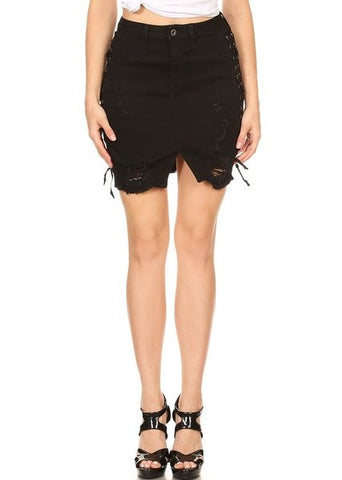 Side Lace Up Skirt Frayed Bottom