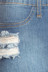 Frayed Cut Out Denim Skirt