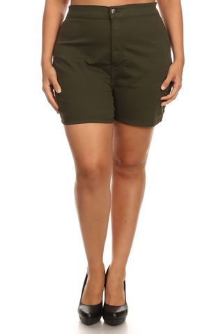 Basic Round Back Pocket High Rise Shorts