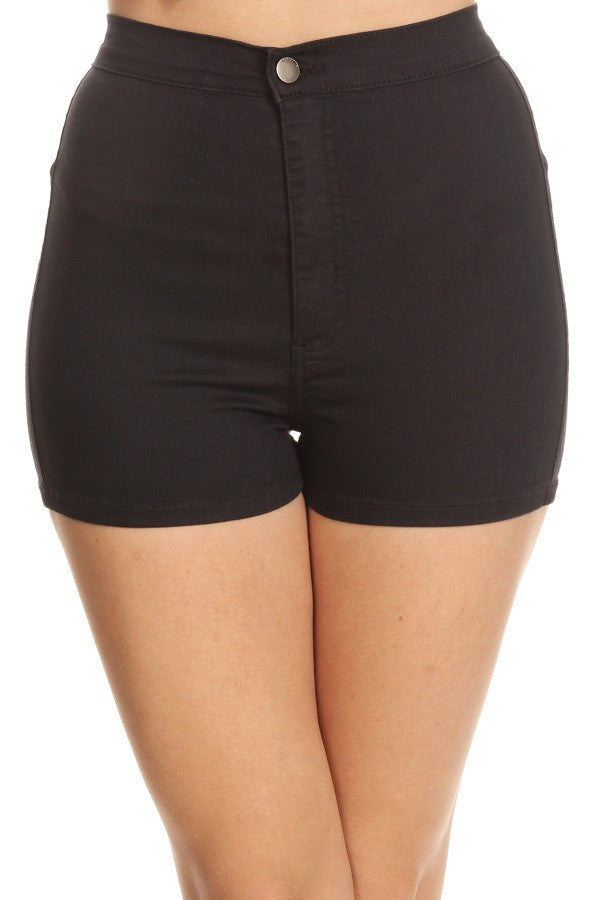 Basic Round Back Pocket High Rise Black