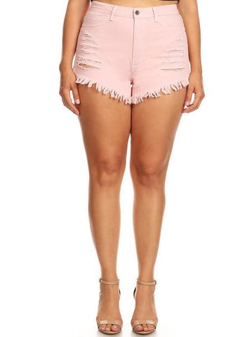 High Rise Fray Destroyed Stretch Denim Short