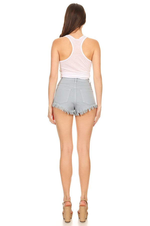 High Rise Fray Destroyed Denim Short Arona