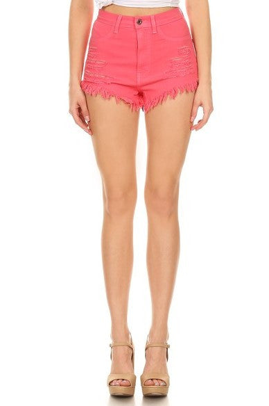 High Rise Fray Destroyed Denim Short Coral