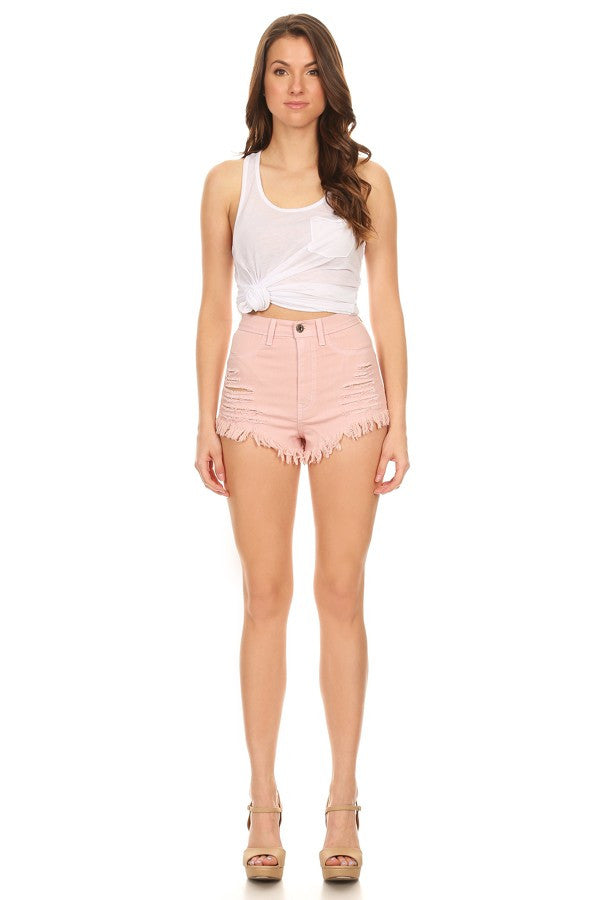 High Rise Fray Destroyed Denim Short Mauve
